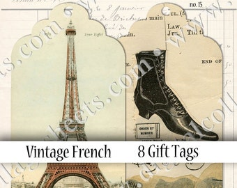 Scalloped Tags French Vintage Digital Collage Sheet Fashion Illustration Instant Download Mixed Media Altered Art Images dcs15