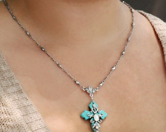 Cross Necklace, Cross Pendant, Confirmation Necklace, First Communion, Religious Necklace, Turquoise Necklace, Opal, Spiritual N1076