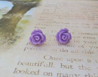 Lavender Rose Stud Earrings