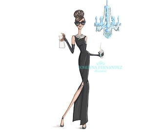 Holly G. fashion illustration art print, Holly Golightly (Breakfast at Tiffany's, Holly Golightly, Audrey Hepburn) art print