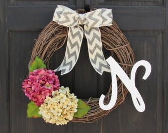 Spring Wreath with Monogram, Wreath for Spring Door Decor, Pink and Cream Hydrangeas on Rustic Grapevine, Spring Initial Wreath, Pink Wreath