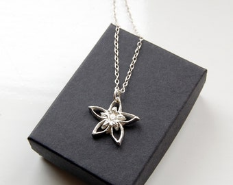 Blossom pendant silver flower cubic zirconia sparkle