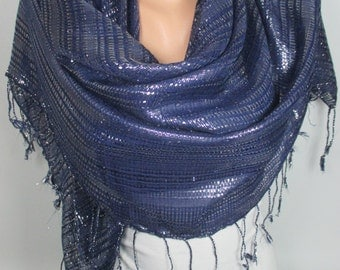 Sparkle Scarf Shawl Blue Spring Scarf Sparkly Fringe Scarf Women Holiday Fashion Accessories Christmas Gift Ideas For Her For Mom MELSCARF