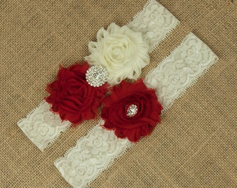 Red Wedding Garter, Bridal Garter Set, Red Flower Wedding Garter, Toss Garter, Keepsake Garter, Ivory Lace Wedding Garter, Garter, SCI1-R04