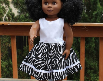 18 inch Doll Dress, AG Doll Dress, Zebra Print Dress