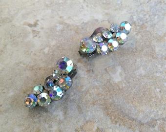 Vintage AB Rhinestone Vintage Clip-On Earrings Earclimbers