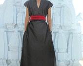 Boho Midi Dress, Summer Women Dress, Grey Dress, Caftan Dress, V Neck Dress, Chinese Collar Dress, Cotton Dress, Urbanic Tribe