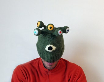 Crazy Hat, Alien Hat, Hat with Eyes, Knit Accessories, Monster hat, Man Hat, Woman Hat, Outdoors gift, Strange and Unique Hat