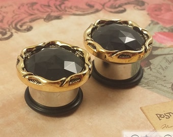"Plugs Gauges - Round Black and Gold Plugs - 4ga (5mm) - 1/2"" (12mm)"