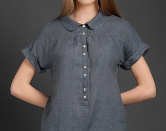 Dark Grey Linen blouse with front buttons, Peter Pan collar, pure linen shirt, washed linen casual blouse, short sleeves linen top