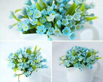 cup with myosotis,  forget me not flower, table arrangement, table decoration, artificial flowers, table flowers, design, table decor