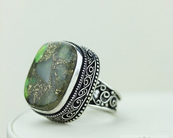 Size 8 - Chrome TOURMALINE Aggregate 925 S0LID (Nickel Free) Sterling Silver Vintage Setting Ring & FREE Worldwide Express Shipping R1724