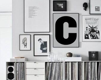 "Letter C Uppercase Print, Alphabet Art, Scandinavian Design Wall Letters, Letter C Nursery Poster 70x100, 50x70, 24x36"", A4"