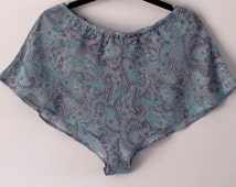 Blue Paisley Chiffon French Knickers by Biscuit Couture. ONE OFF - size 8 only.