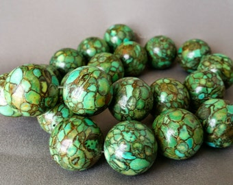 20mm Turquoise composite round beads 16 inch strand LVL3-004
