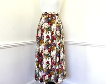 Vintage White Multicolored Floral Skirt// JH Collectibles Petites// Size 4// Size XS// Floral Skirt with Pockets