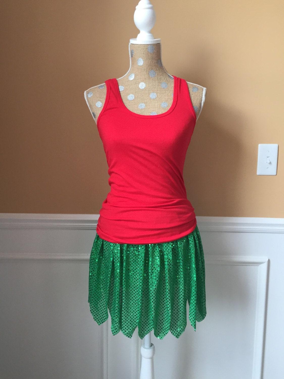 Hawaiian Grass Skirt Inspired Running Skirt Costume Green