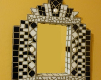 Art Deco Black and White Mosaic Mirror
