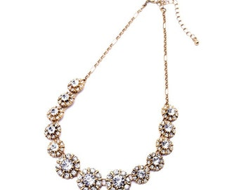 Bridesmaid Necklace, Bridesmaids Gift, Classic Crystal Statement Necklace, Crystal Bib Statement Necklace, Bib Statement Necklace