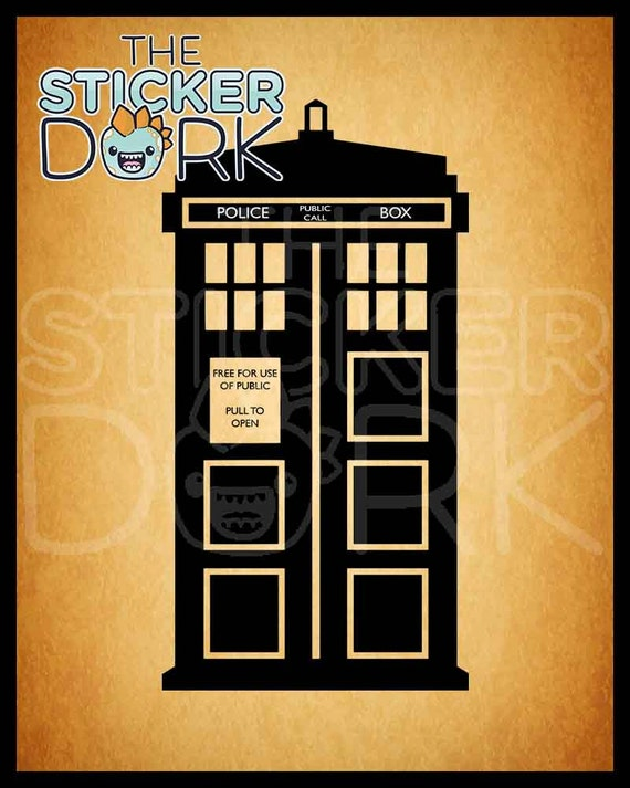 tardis wall decal from doctor who by stickerdork on etsy. Black Bedroom Furniture Sets. Home Design Ideas