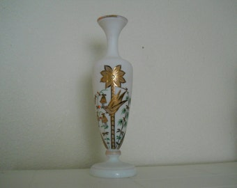 Antique Bristol Hand-Painted Frosted Glass Vase with Gold