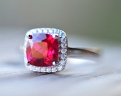 Ruby Ring Ruby Engagement Ring July Birthstone Ring Sterling Silver Ring Wedding Ring Halo Engagement Ring Cubic Zirconia Ring CZ Ring
