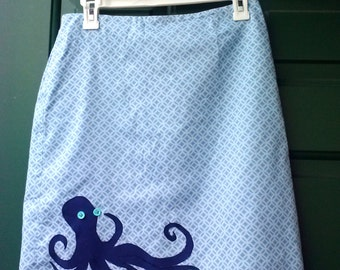 One-of-a-kind Upcycled Blue Octopus Summer Skirt Size 6P