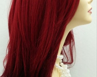 Long 24 inch Straight and Wavy Ruby Red Dark Brown Ombre Wig with Premium Heat Resistant Fiber. Wine Red Wig.