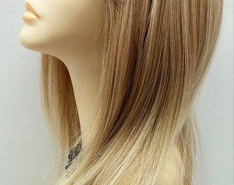 Long 21 inch Straight Mixed Natural Blonde Lace Front Wig with Bangs and Premium Heat Resistant Fiber. [37-205-Sonya-T27/613]