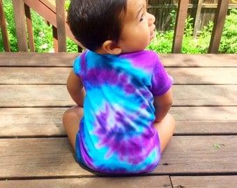 Blue And Purple Tie Dye Baby Onesie