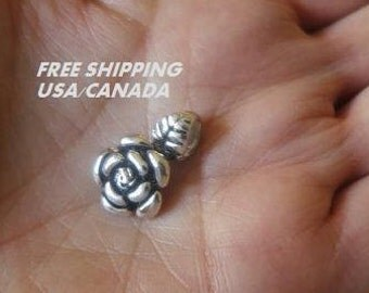 Rose flower pendant; 92.5 sterling silver