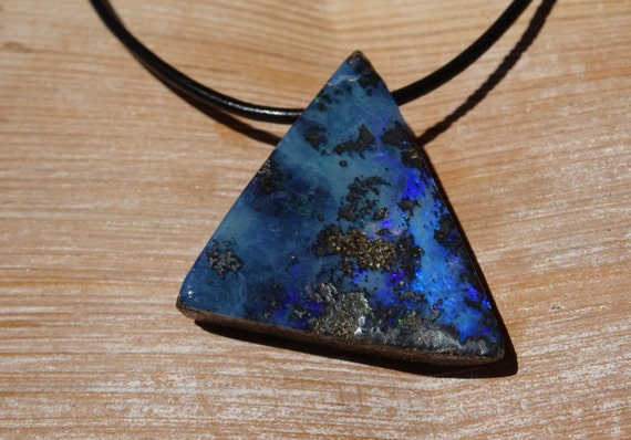 blue opal pendant mens opal necklace on leather cord
