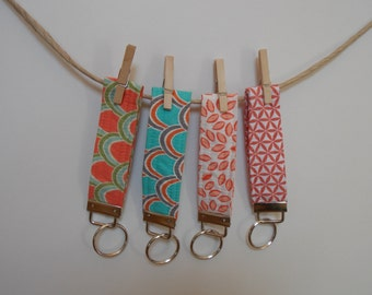 Key Fob, Key Chain, Wristlet shades of coral