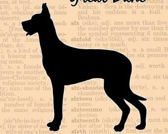 Great Dane Silhouette, Digital Download, Instant Gift, Great Dane Lovers Gift, Great Dane, Art Print