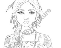 Coloring Page - Indian Girl Portrait - 1 <b>Printable Page</b> - il_214x170.769957435_odkq