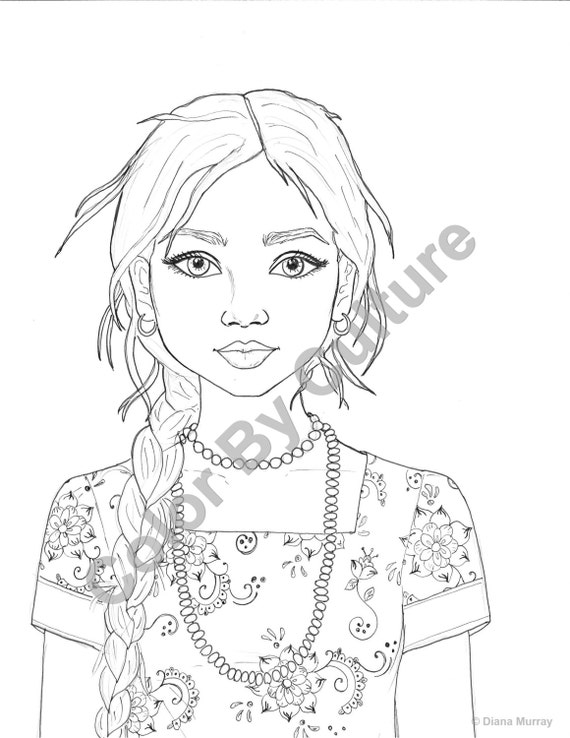 fashion coloring page india coloring page indian girl coloring page printable coloring page adult coloring page - Coloring Pages People Realistic