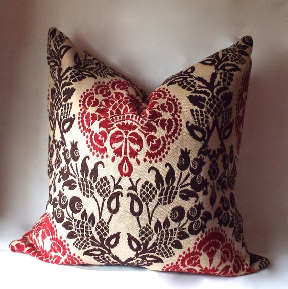 Red Throw Pillows Etsy : Decorative Throw Pillows Red 22 x 22 by SewDeevinePillows on Etsy