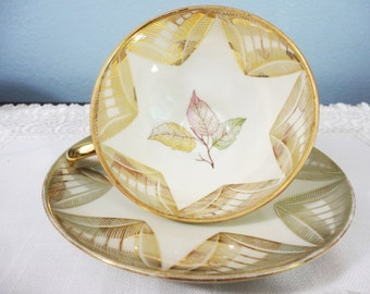 CLEARANCE SALE Winterling Roslau Bavaria Gilt Leaves Bone China Tea Cup and Saucer, Gifts for Her Tea Party