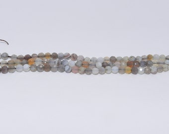Botswana Agate - Full Strand - 4 mm, Round, Faceted, Natural - BOTSA-F-R-4
