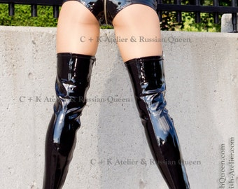 C + K very shiny hotpants, PVC and leatherette combined, metal zip, handmade, new