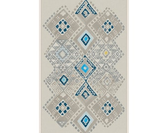 Kilim in Caspian Blue wall hanging