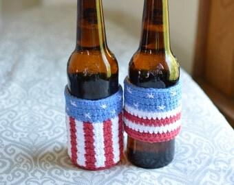Custom American Flag Drink Cozy