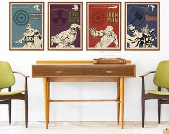 Avengers 4 Poster Set - Captain America, Hulk, Iron man, Thor - Movie, Film Poster, Minimalist Print, Wall Art, Home Decor