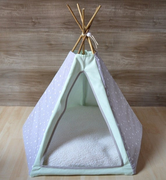 tipi tente pour chat chien gris et menthe large avec coussin. Black Bedroom Furniture Sets. Home Design Ideas