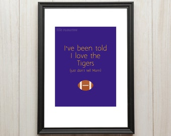 LSU Football Nursery Art Print - Baby Room Decor - Louisiana State University Tigers