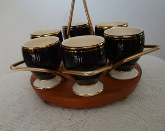 Vintage Egg Cup Set 1960s in Black White and Gold on Teak Stand