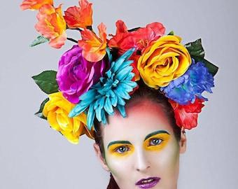 Colourful floral headdress