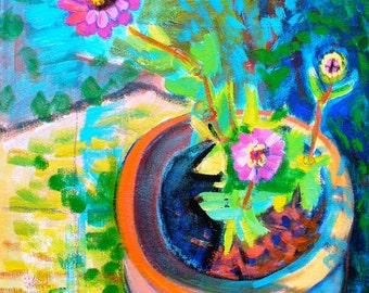 Pot of Zinnias, original flower painting, 14 x 18 inches, by Cynthia Black