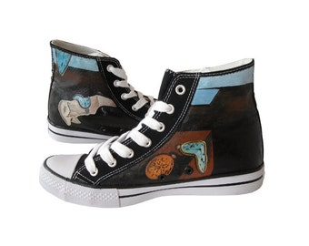 Hand painted sneakers: Salvador Dali theme, Dali shoes, surrealistic shoes, hand painted shoes, chucks, Converse/Unbranded