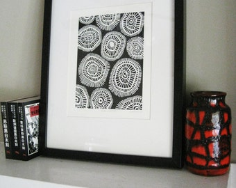 MOD CIRCLES - Geometric Linocut Print - Black & White Mid Century Modern Print - 8x10 Minimalist Print - Ready to Ship